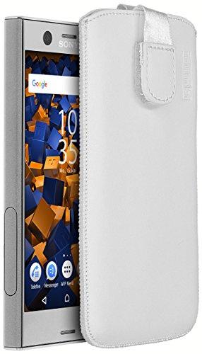 mumbi Echt Ledertasche kompatibel mit Sony Xperia XZ1 Compact Hülle Leder Tasche Case Wallet, Weiss