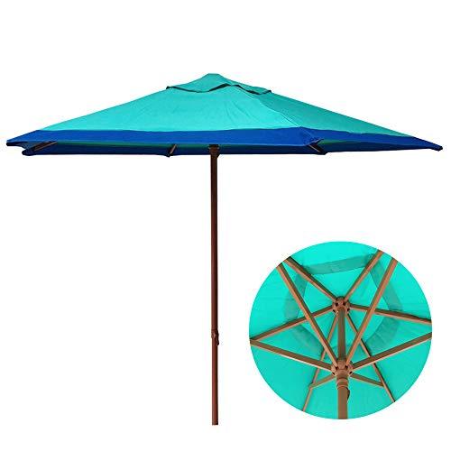 Parasol LWMQ Ombrello da Giardino in Acciaio Esterno da 2,1 m / 6,9 Piedi,ombrellone Protezione UV Impermeabile Spiaggia a manovella, Ciano-Blu