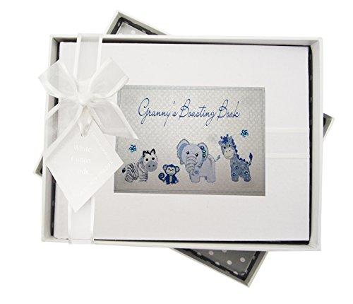 White Cotton Cards Album photos Motif ensemble d'animaux avec titre en anglais Granny's Boasting Book Vichy bleu