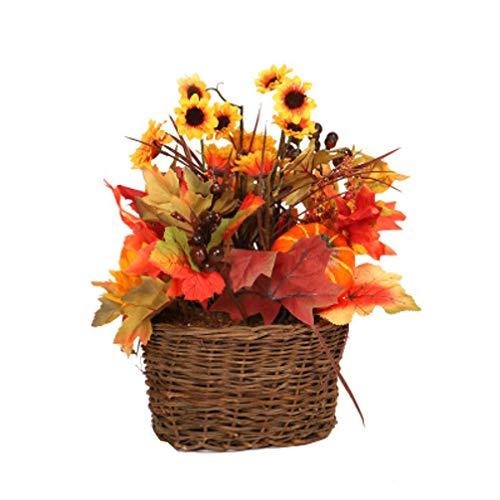 Garneck centros de Mesa de acción de Gracias Hoja de Arce Artificial Baya Flor del Sol arreglo Floral de otoño Cosecha centros de Mesa de Flores de otoño decoración de la Mesa Ornamento 30x30x39cm