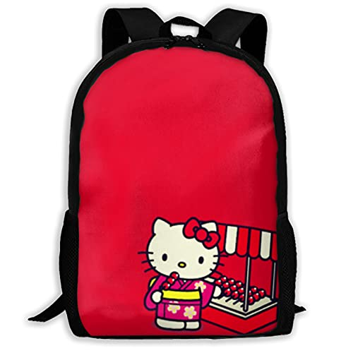 Hello Kitty Mochila de dibujos animados unisex de poliéster, mochila casual de viaje, bolsa de juego escolar