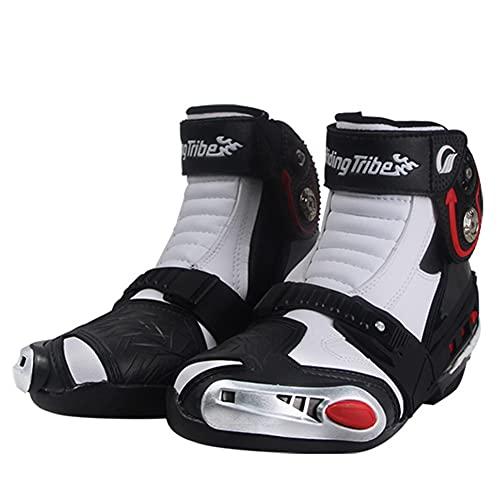 PGthree Botas de Motocicleta de Carreras - Botillas Biker Hombres Blanco, VTT MX Scrambler Offroad Motocross Boots, Zapatos de Motocicleta con Protectores de cáscara Dura adjuntos (Size : EU45)