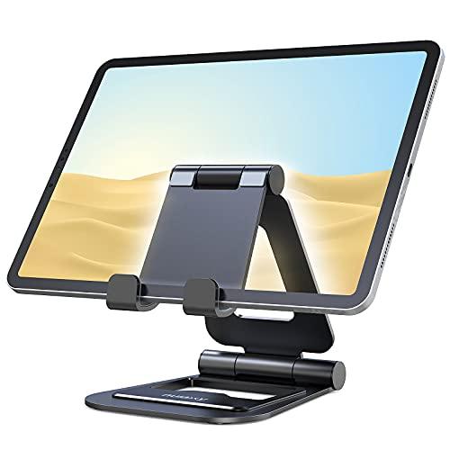 Nulaxy Supporto Tablet, Alluminio Supporto per iPad Pieghevole e Regolabile, Porta Cellulare da Tavolo per iPad PRO 12.9, 10.5, 9.7, Air Mini 2 3 4, iPhone, Switch, Samsung Tab (4.7 -13 )- Nero