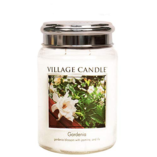 Village Candle Gardenia 26 oz Large Glass Jar Scented Candle