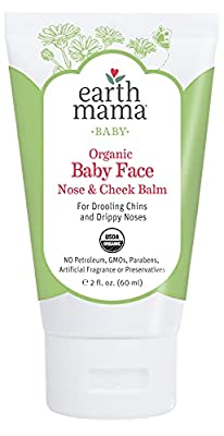 Organic Baby Face Nose & Cheek Balm for Dry Skin by Earth Mama | Natural Petroleum Jelly Alternative, 2-Fluid Ounce by Earth Mama Angel Baby