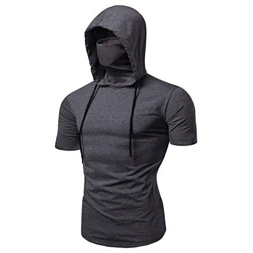 WGNNAA Herren Sommer T-Shirt Kurzarm Kapuzenpullover Fitness Gym Hoodie Casual Sweatshirt Einfarbig Steampunk Pullover Gothic Stil Kapuze Shirt