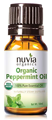 Nuvia Organics USDA Certified Peppermint Oil, 100% Pure Essential Oil, 10ml