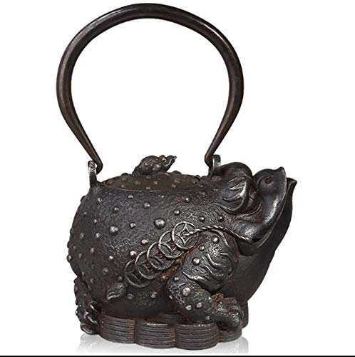 Teapot Set Handmade Cast Iron Kettle and Child Toad Pattern Implication Bring Fortune and Lucky for You Small Japanese Style Iron Teapot