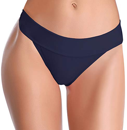 SHEKINI Damen Einfarbig Bikini Bottom Weibliche Badehose Brazilian Style Elastische Bikinihosen Bikini Slip Bikini Unterteile Bikini Shorts(S,Dunkelblau B)