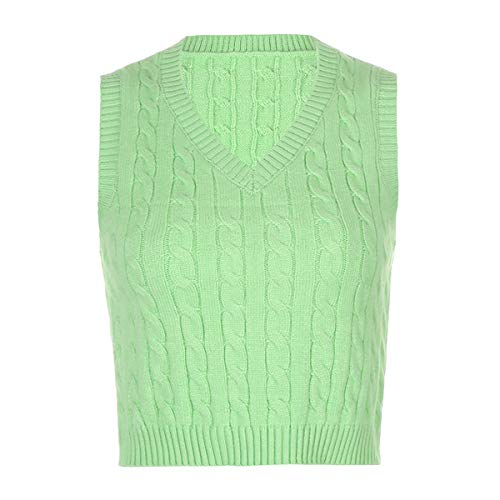 Women 's Y2K V Neck Sweater Vest E-Girls Crop Knitwear Argyle Plaid Preppy Slim Fit Knitted Tank Tops (Solid Light Green, M)