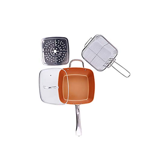 Non-bâton Cuivre Profond Kit de poêle carrée avec un couvercle Ensemble de 4 pièces Grande induction Base Grande pour la cuisson au four Grillage Sauté Coffre-fort au four