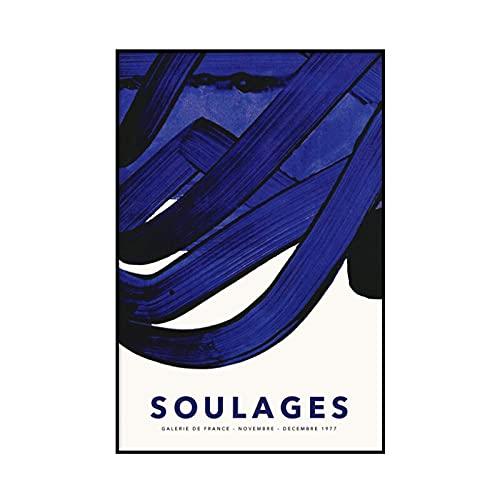 Pintura cartel e impresión de la exposición de Pierre Soulages, pintura abstracta del arte de la pared, pintura de la lona sin marco A2 15x20cm