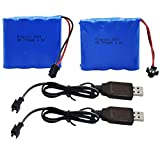 Blomiky 2 Pack 4.8V 700mAH Ni-Cd Battery Pack and 2 USB Charger Cable for Blomiky C181 C182 C185 1/18 Scale RC Truck C181 Battery & USB 2