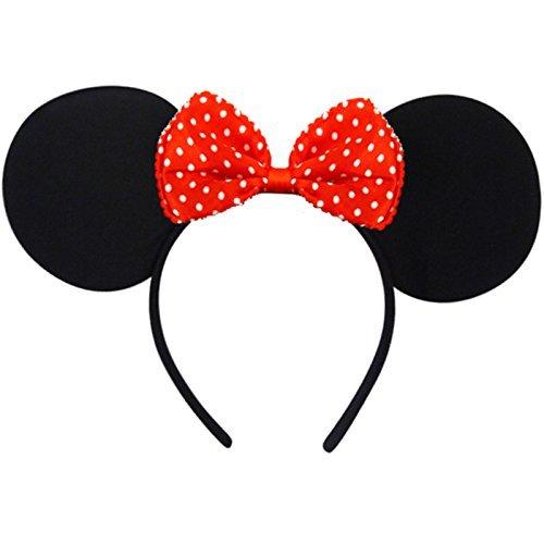 German-Trendseller® - Minnie Maus Ohren + Schleife ┃ Kostüm ┃ Mäuschen Ohren ┃ Werden Sie zur Minnie Maus ✔