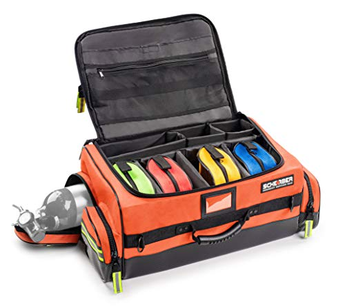 Scherber First Responder O2 Bag   Ultimate Professional EMT/EMS Trauma Oxygen Kit   Durable Reflective 600D Water Repellant Bag w/10+ Compartments, Zippered Pockets, Dividers & Padded Strap - Orange