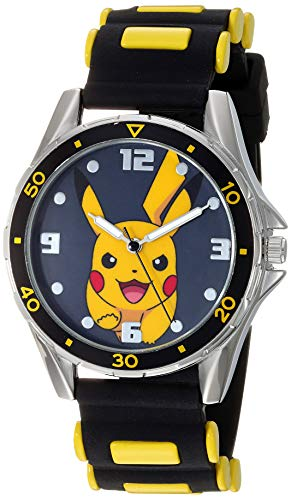 Pokemon Boys' Analog Quartz Watch with Rubber Strap, Black, 21 (Model: POK9056AZ)
