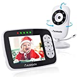 "Video Baby Monitor with Camera and Audio, Anmade 3.5"" Color Screen 960 feet with Night Vision Support Multi Camera, ECO Mode, Two Way Talk, Temperature Sensor, Built-in Lullabies"