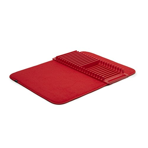 Umbra Udry Rack and Microfiber Dish Drying Mat, Standard, Red