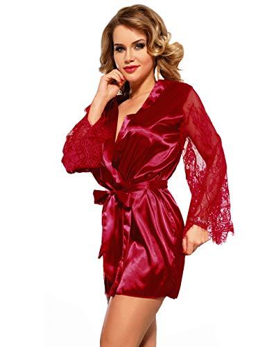 ohyeahlady Mujer Albornoz Lencería Kimono Satén Corto Cómodo Talla Grande