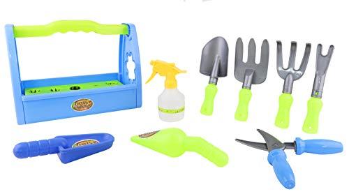 Toyland® Little Gardeners 9-Delige Blauw-Groene Tuinspeelset met Draagtas Inclusief - Troffel -Waterspuit - Planter - Schop - Snoeischaar - Hark - Vorken en Draagtassen van Gemengd Formaat