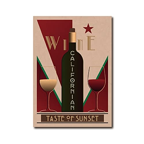 Poster vintage de vino californiano Bar Cuadros de arte de pared Poster de vino Restaurante Cocina Decoracion del hogar Pintura en lienzo 40x60 cm x1 Sin marco