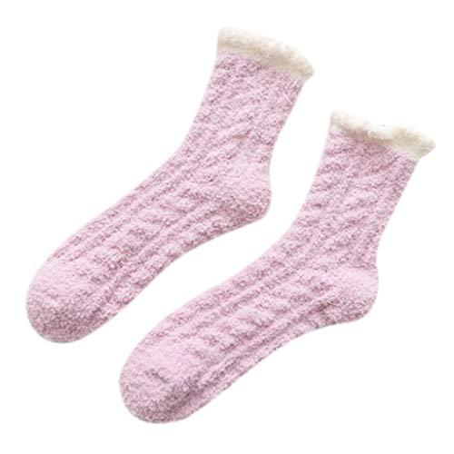 Meias femininas macias de inverno de veludo coral felpudo, meias de tricô, fofas e quentes, polipropileno., tamanho �nico