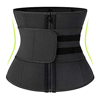 2 in 1 Neoprene Sauna Waist Trainer Corset Sweat Belt for Women Tummy Control Bands Compression Workout Fitness Zipper,#1 Zipper Black,XXX-Large