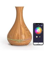 Meross Alexa Aromat Dyfuzor / Dyfuzor do Olejków Eterycznych, 400ml Smart Wi-Fi Ultradźwiękowy Nawilżacz, Kompatybilny z Alexa i Google Home, Kontrola Aplikacji, Bez BPA, Ultra Cichy