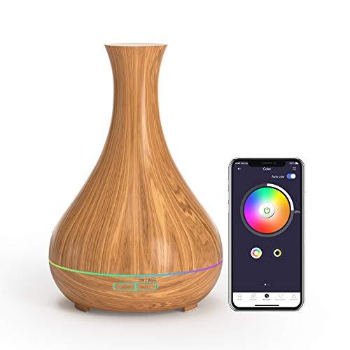 Difusor Aromaterapia Wi-Fi, Humidificador Ultrasónico Aromaterapia Inteligente, 400ml. Compatible con Alexa y Google. Meross App. Sin BPA.