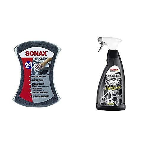 SONAX MultiSchwamm (1 Stück) besonders saugstarker Alleskönner für die Autoreinigung & FelgenBeast (1 l) entfernt selbst biestige Verschmutzungen auf allen Stahl- und Leichtmetallfelgen