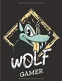 WOLF GAMER: Diario y cuaderno, perfecto para los fanáticos de los videojuegos - Tamaño (8.5 x 11...