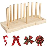 Creproly Bow Maker for Ribbon Wreaths, 2-in-1 Double Sided Wooden Hair Bow Making Tool for Crafts...