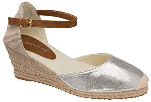 Dunlop DLC131 Rana Damen-Espadrilles, geschlossener Zehenbereich, Keilabsatz, Silber - silber - Größe: 39 EU