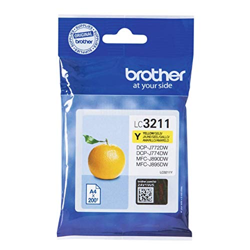 Brother LC3211Y Cartuccia Ink-Jet Originale, Capacità Standard, fino a 200 Pagine, per Stampanti MFCJ491DW / MFCJ497DW / DCPJ572DW / MFCJ890DW, Colore Giallo