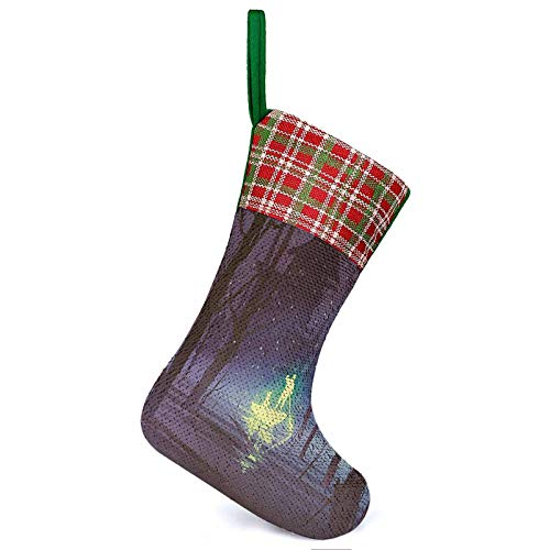 ThinkingPower Christmas Stockings Ornament House Luminous Man and Dog in Boat in River Fireflies Before Haunted Home Ornament Holiday Party Supplies for Family Holiday Decorations 9.9 x 13.2 Inch
