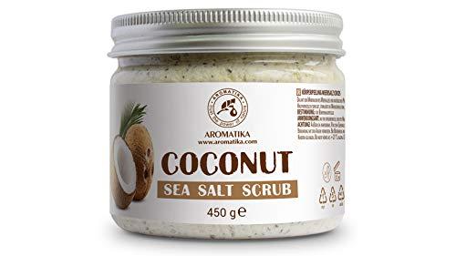 Körperpeeling 450g - Kokos Meersalz Peeling - Salzpeeling für Alle Hauttypen - Feuchtigkeitsspendend - Reich Meersalzmineralien - Antioxidans Schrubben - Körper-Peeling