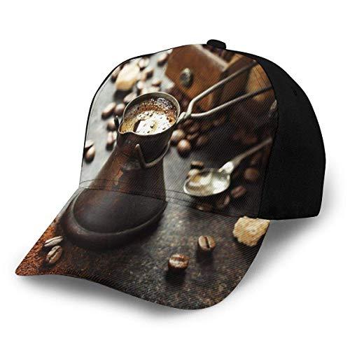 JONINOT Hombres Mujeres Gorra de béisbol Ajustable Sombrero Antigua cafetera Antigua y Molino sobre Fondo rústico Oscuro Imagen para Hacer Bebidas