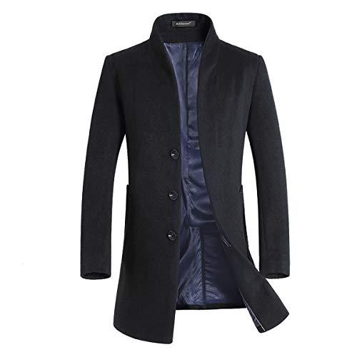 Allthemen Cappotto Invernale da Uomo Slim Fit Trenchcoat Lungo in Lana Coat Business Caldo da Lavoro a Manica Lunga Nero S