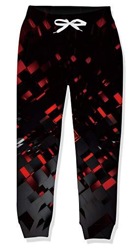 uideazone Pantalones de chándal para niños con patrón 3D, pantalones deportivos para niñas, pantalones largos casuales con cintura elástica y bolsillos adecuados para 6 a 13 años