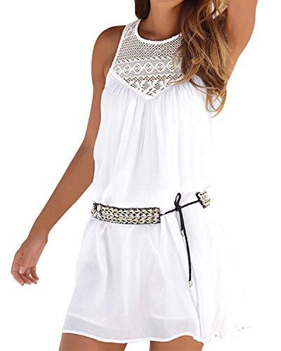 Kenoce Damen Sommer Neckholder-Kleid, ärmellos, lässig, locker, Strandkleid, Mini, Bikini Badeanzug Cover Up -  -  Small