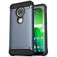 Encased Heavy Duty Moto G7 Case (2019 Scorpio Series) Military Grade Rugged Phone Protection Cover (Slate Blue)