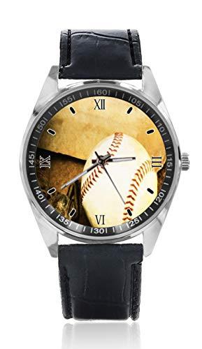 Baseballschläger Herren Ledergürtel Uhr einfache Klassische Sport-Uhr für Herren Schlichtes Design und Mode