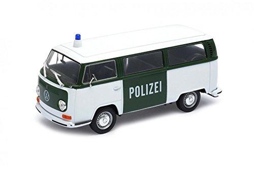 Welly 22472GP-W Police - Modellino da Collezione di Furgone Volkswagen T2 in Uso alla Polizia, 1972, Scala 1:24, in Metallo