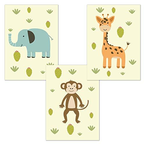 kizibi 3er Poster Set Safari Zoo DIN A4 | ohne Bilderrahmen | Kinderzimmer Babyzimmer Jungen Mädchen Wandbild Tiere (Set 01)