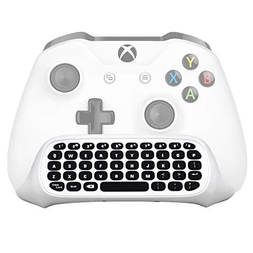 MEGADREAM Xbox One Wireless Chatpad键盘带3.5mm音频插孔,用于Microsoft Xbox One&Xbox One Slim控制器,PC 2.4G USB接收器和充电电缆包括 - 白色