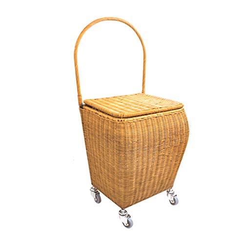 Bambus und Rattan gewebte Lebensmittel Einkaufswagen Trolley Car Home Einkaufswagen Light Trolley Old Portable Trailer Basket,Covered