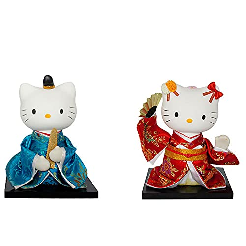 KJWXSGMM Adornos de Gato Afortunado Mini Lindo Kimono japonés Adorno de Gato de la Boda Decoración de Regalo de Boda Adornos de Gato Afortunado, 18 cm,C
