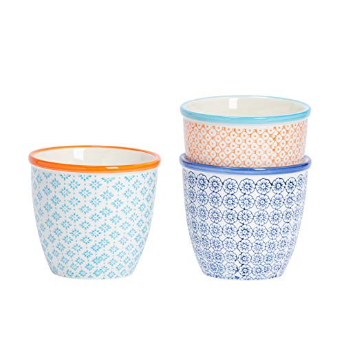 Nicola Spring 3 Piece Hand-Printed Plant Pot Set - Porcelain Indoor Outdoor Flower Pot - 3 Colours - 14 x 12.5cm