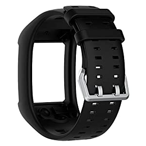 QGHXO Band for Polar M600, Soft Adjustable Silicone Replacement Wrist Watch Band for Polar M600 Watch (BK)