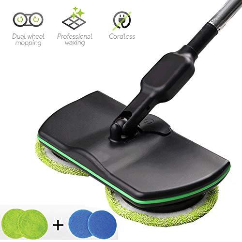 MYJZY Elektrischer Mopp 360 drahtloser Reinigungs-Schleudermopp, Power-Schleudermopp wiederaufladbar, Haushalts-Handbodenwäscher-Wachsmaschine-Polierer,Schwarz